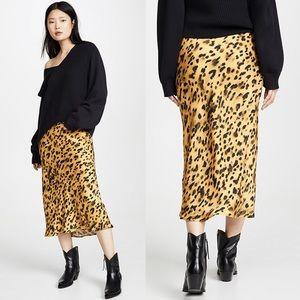 NWT Anine Bing Bar Silk Skirt Golden Leo Leopard